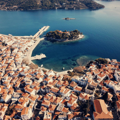 Skiathos Town from the air.